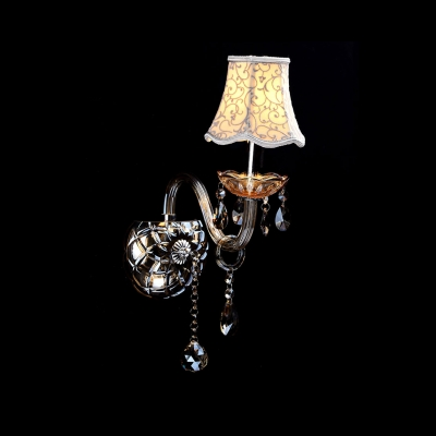 Sleek Scrolling Arm and Clear Crystal Formed Graceful Single Light Wall Sconce