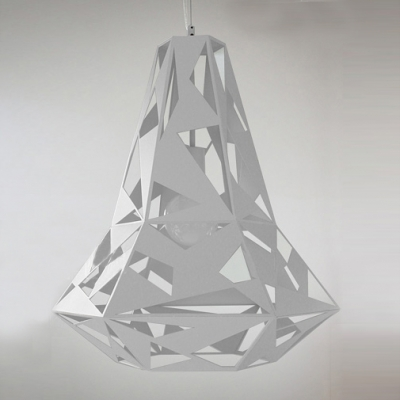 Slim Shape Metal Hollow-Out Pendant Light In White