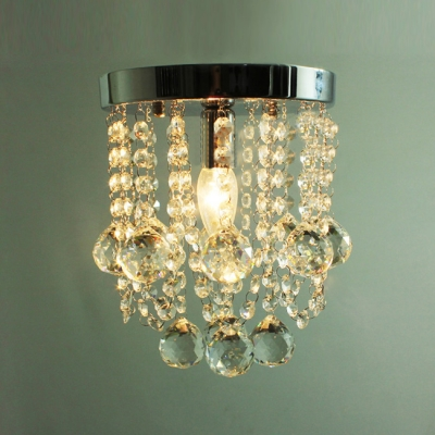Small Clear Crystal Globes Waterfall Single Light Foyer Flush Mount Light