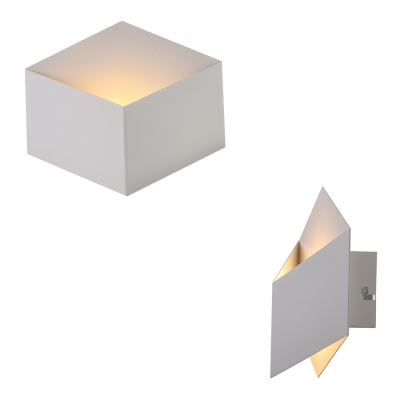 Designer Mini LED Wall Light in Brilliant Design Soft And Chic White Metal Square Wall Sconce for Living Room Gallery Besides