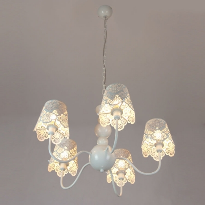 Soft and Romantic White Lacy Designer 5-Light Chandelier