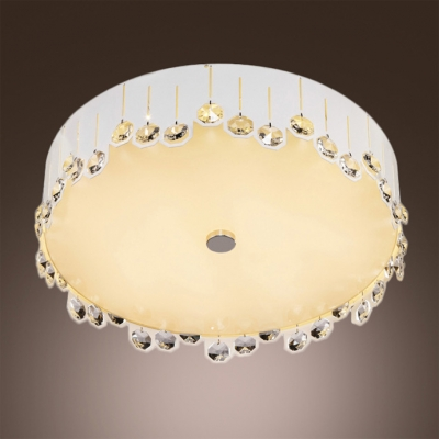 Soft and White Round LED Flush Mount Lights Embedded by Crystal Beads