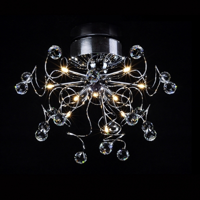 Sparkling Clear Crystals Extend From Center of  Striking Flushmount Ceiling Light