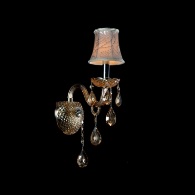 Sparkling Single Light Wall Sconce Features Beautiful Scrolling Arms and Crystal Drops Topped with Grey Fabric Shade