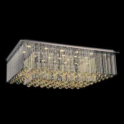 Square LED Crystal Flush Mount Light Accented by Gorgeous Amber Crystal Balls