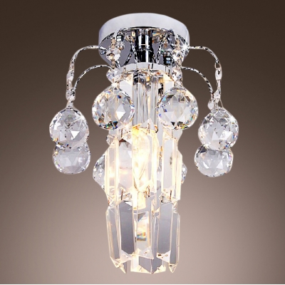 Striking Semi-flushmount Ceiling Light Fixture Features Hand-cut Lead Crystal Center and Balls