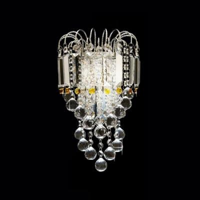 Stylish Contemporary Chrome Finished Wall Sconce Offers Strands of Clear Crystal Balls