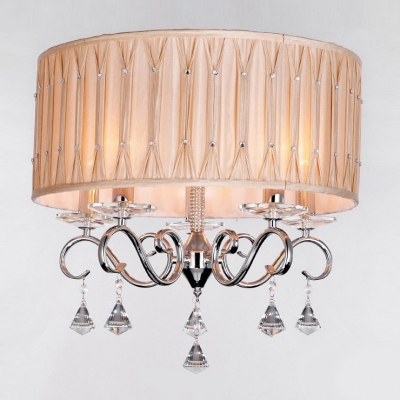 Warm Brown Drum Shade Glittering Clear Diamond Crytsal Droplets and Stainless Steel Chandelier