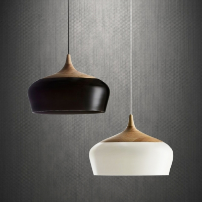 Large Pendant Light In Designer Style Wood And Aluminum Bowl ...