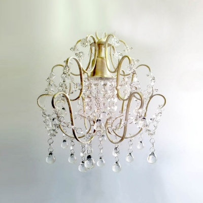 Beautiful Cascade of  Clear Beads Sparkle with Charming Antique White and Crystal Swag Chandelier
