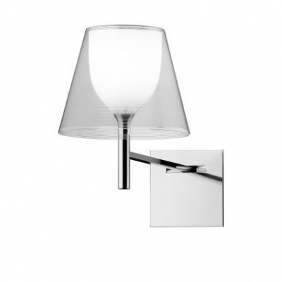 Bright Acrylic Cone Shaded Designer Wall Sconce With Square Canopy