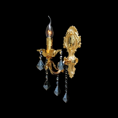 Classic Crystal Accent Polished Gold Finish Composed Striking Wall Sconce with Single Candle Light