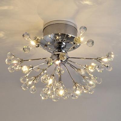 Clear Crystal Adorns Elegant Chrome Finish Frame of Flushmount Ceiling Light