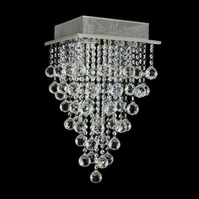 Clear Crystal Rain Square Flush Mount Shine with Bright Crystals