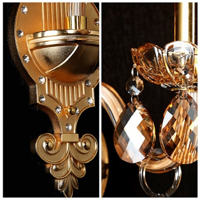 Compelling European Style Wall Light Fixture Completed with Decorative Brass Finish and Graceful Scrolling Arms