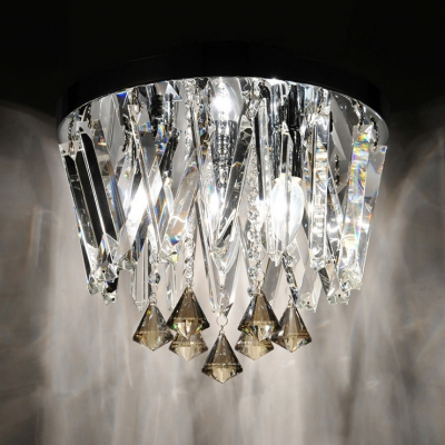 Contemporary Chrome Finished Round Canopy Flush Mount Hanging Crystal Accents