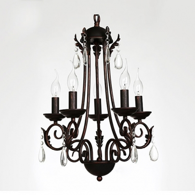 Curving Arms Five-Light Antique Copper Finished Crystal Teardrops Chandelier