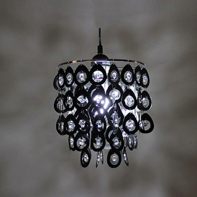 Dazzling Swag Pendant Light Adorned with Clear Crystal Completed by Black Finish Frame