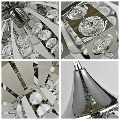 Delicate Clear Crystal Beading Layered over Stainless Steel Frame Tracks in Sleek Modern Oval Chandelier