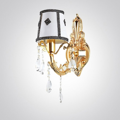 Delicate Gold Wall Sconce Features Single Light and Beautiful Crystal Droplets