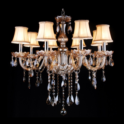 Eight-Light Chocolate Crystals and White Shade Chandelier for Dining Room