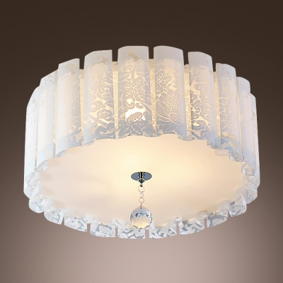 Elegant drum acrylic shade flush mount ceiling light with single elegant drum acrylic shade flush mount ceiling light with single crystal strand aloadofball Choice Image