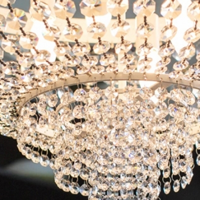 Finely Hand Cut Clear Crystal Beaded Strands 3-Light Delicate Crystal Large Pendant Light