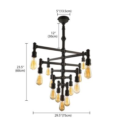 Flexible 6 Tiers Downward  Black LED Linear Pendant Chandelier