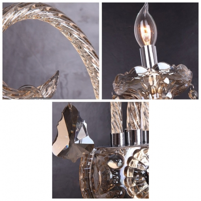 Glamourous Two Light Crystal Wall Sconce with Delicate Back Plate and Graceful Curving Arms