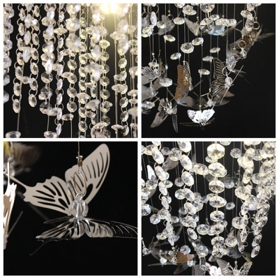 Hanging Lovely Crystal Butterfly and Sparkling Strands Modern Style Flush Mount Lighting