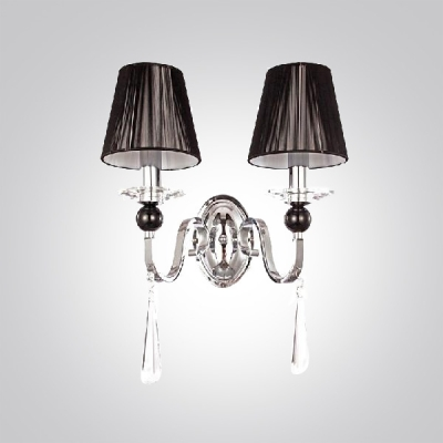 Impressive Faceted Crystal Drops and Black Empire Fabric Shades Add Charm to Delightful Two Lights Wall Sconce