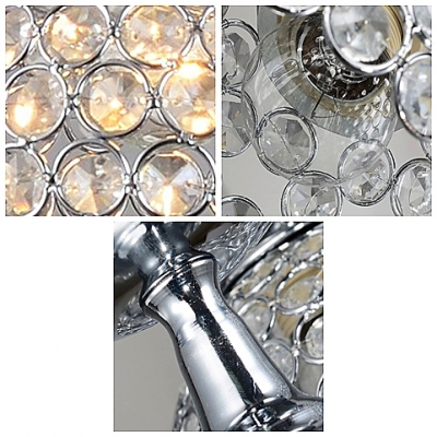 Magical Sparkle Clear Crystal Beaded Modern Chrome Finished Mini Pendant Lights