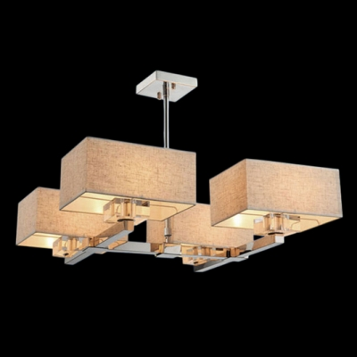 Magnificent Four Light Pendant Light Brings Warm Illumination with Grey Fabric Shades and Clear Crystal Decoration