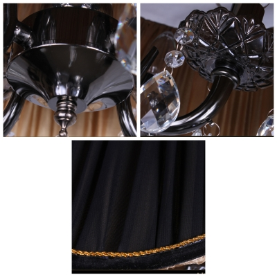 Majestic Contouring Trim Sheer Pleated Black Shade Hand Cut Crystal Accented Chandelier