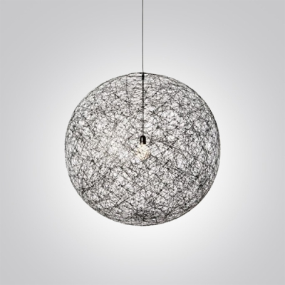 Etonnant ... Mini Black Linen Wire Globe Suspension Pendant Light ...