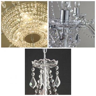 Modern Chrome Finished Stunning Clear Crystal Strands Bowl Graceful Chandelier