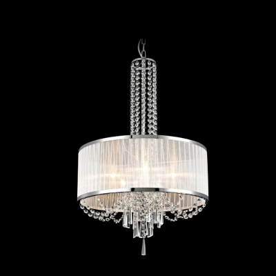 Sheer Fabric Drum Shade Clear Crystal Strands and Droplets Hanging Large Pendant