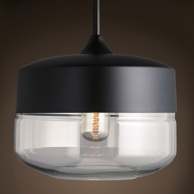 Short Round Mini Industrial Black/White Socket Pendant Light