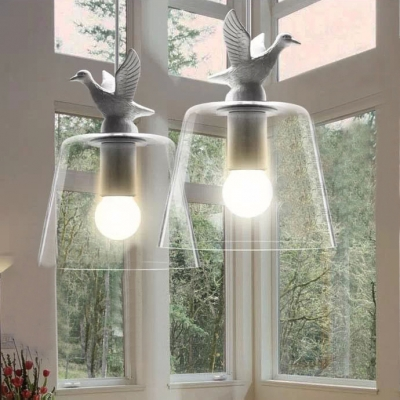 Single Light Bright Glass Shade And Resin Bird Designer Pendant Light Clear