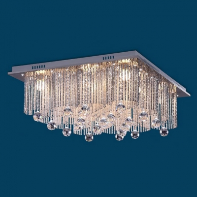 Square Cube Shinning Clear Crystal Rainfall Romantic and Bright Flush Mount