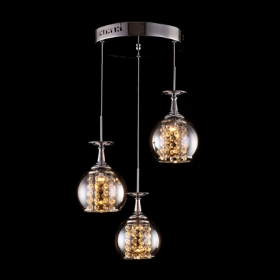 Three Sparkling Glass Globes Enhanced with Chrome Finish Stylish Multi Light Pendant with Crystal Glass