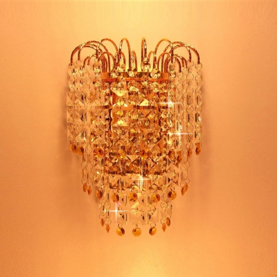 Timeless Wall Sconce Adorned with Graceful Strolls Hanging Strands of  Crystal Beads