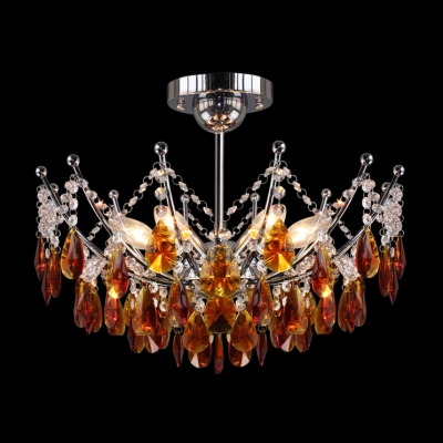Warm Tea Stained Crystal Drops Corona Crystal Semi-Flush Mount Ceiling Light