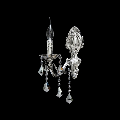 Wonderful Crystal and Polished Silver Finish Add Charm to Wall Sconce with Single Candle Light