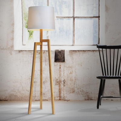 Wood Tripod And Fabric Drum Shaded Floor Lamp In Designer Style