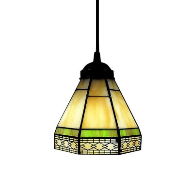 6 Inch Width Shade Tiffany Designed Art Glass Style Mini Pendant Light