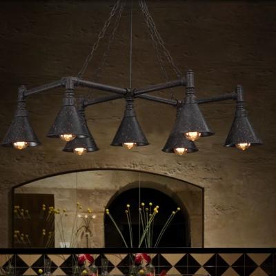 7 Lights Large LED Chandelier in Antique Loft Design