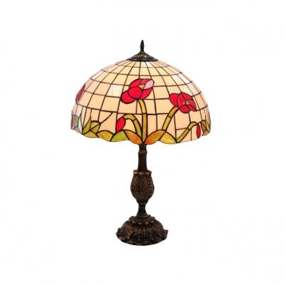 antique brass finish single light tiffany resin table lamp for dining room. Black Bedroom Furniture Sets. Home Design Ideas
