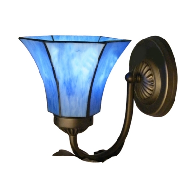 Blue Flower Shade Tiffany Wall Sconce Complemented by Wrought Iron Base