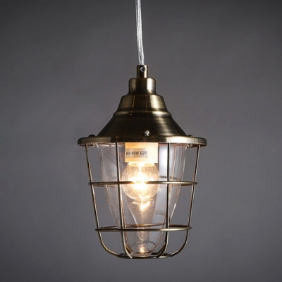 Antique Bronze Single Light Warehouse Outdoor Pendant Lighting Fixture ...